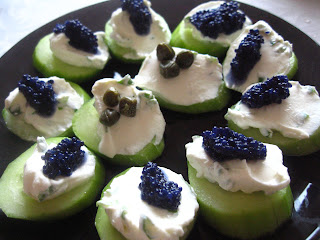 Caviar on Cucumber Antipasto by Ng @ Whats for Dinner?