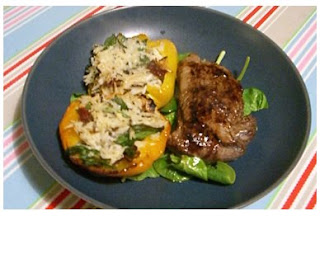 balsamic steak with stuffed peppers