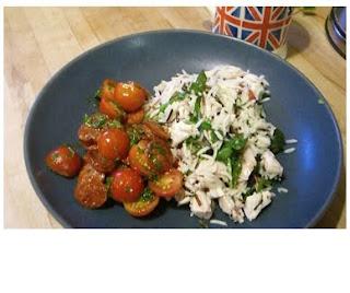 roast chicken and three rice salad & chorizo and tomato salad