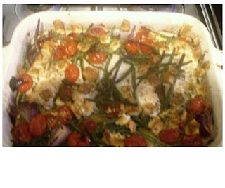 baked chicken, green beans and tomatoes