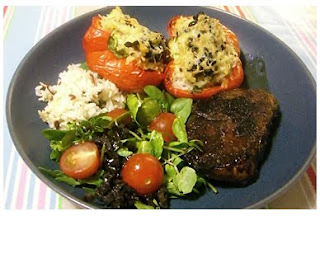 balsamic and thyme steak with stuffed peppers