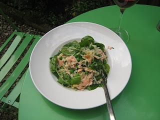 poached salmon and risoni salad