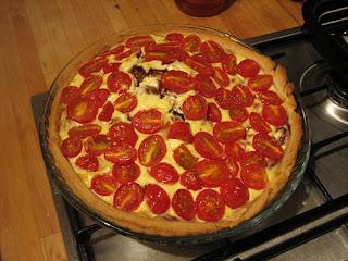 tomato, red onion and creme fraiche tart