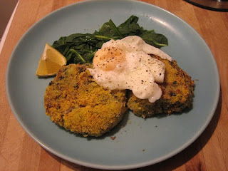 smoked mackerel and coconut fishcakes, with hollandaise