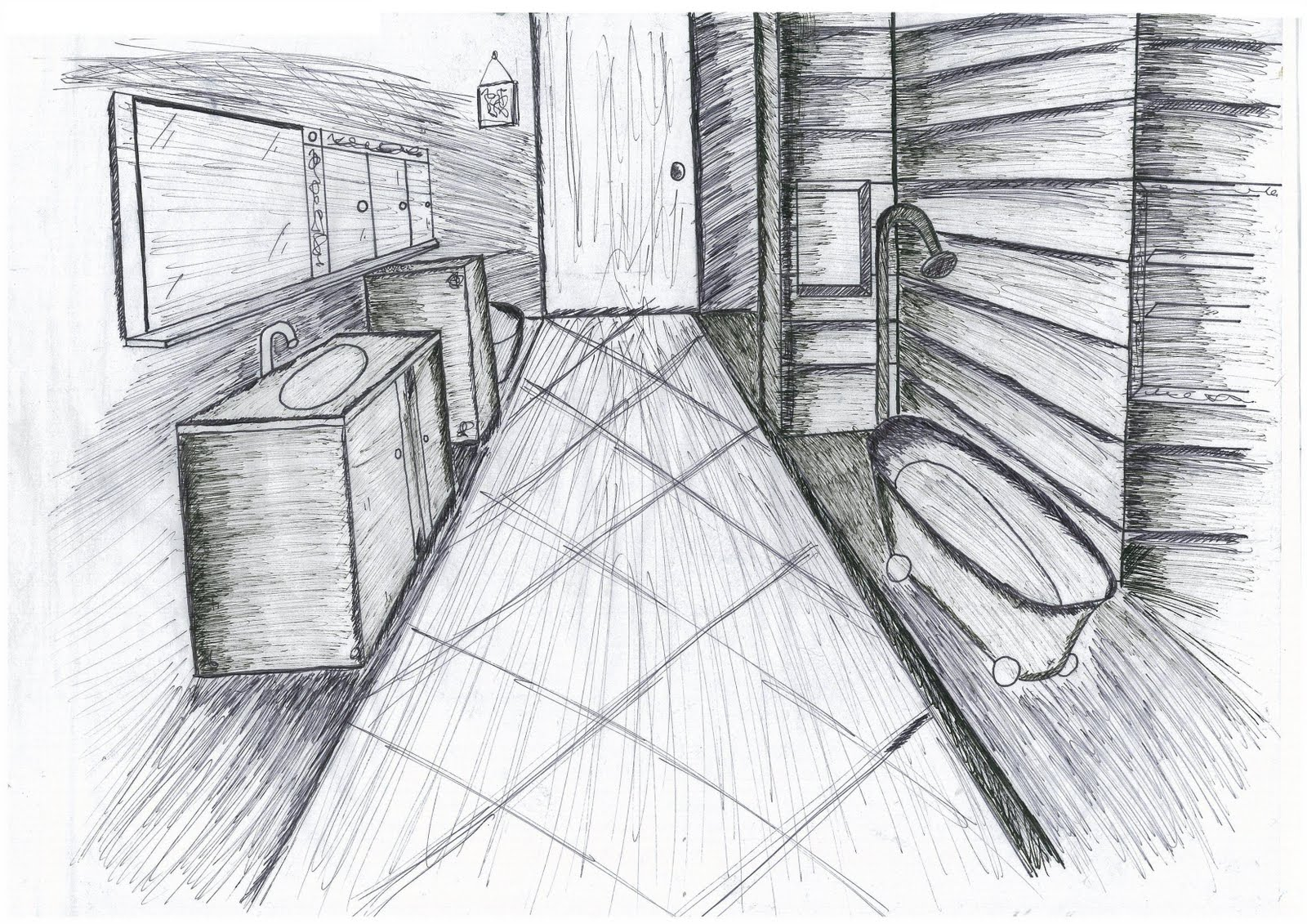 Bathroom perspective drawing - Bathroom Perspective Drawing 1 Point Perspective Internal
