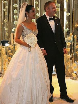 Celebrities Wedding Dress at 2009-Salma Hayek wedding dress