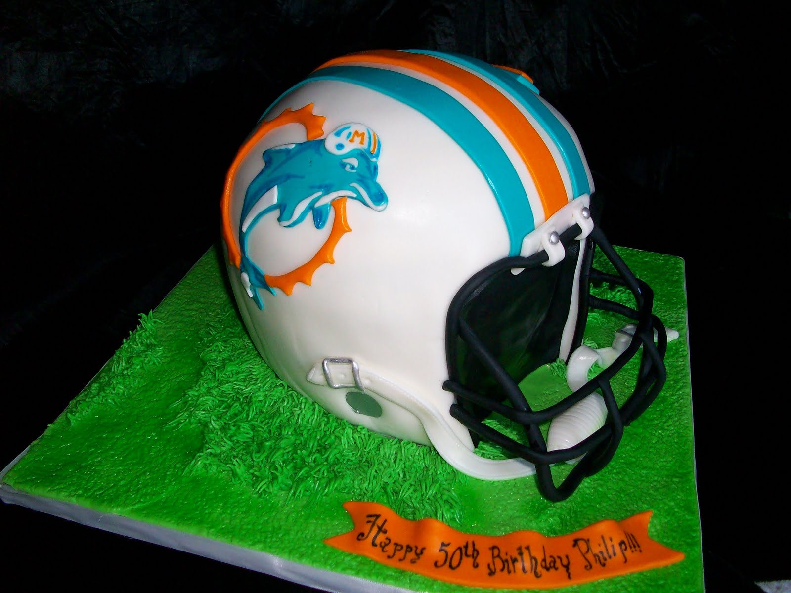 On Birthday Cakes Miami Dolphins Helmet Cake