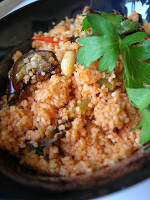 This is a perfect summer dish and is especially good with cold refreshing yogurt Eggplant Bulgur Pilaf (Patlıcanlı Bulgur Pilavı)