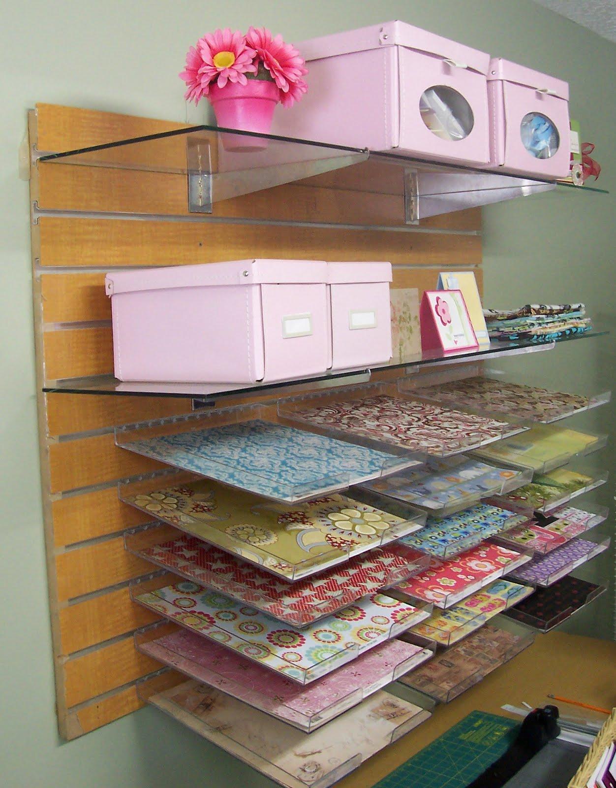 Scrapbook paper display - Slat Board Scrapbooking Paper Storage Solution