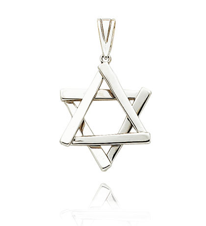 White Gold Star of David Pendant
