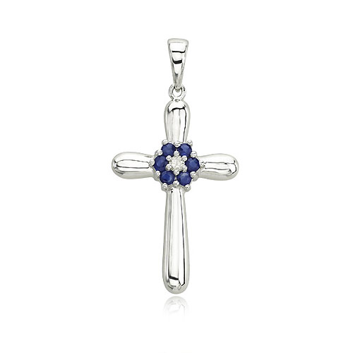 Gold Sapphire Cross