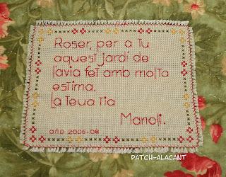 Roser para tí este jardín de la abuela, hecho con mucho amor.Tu tia Manoli