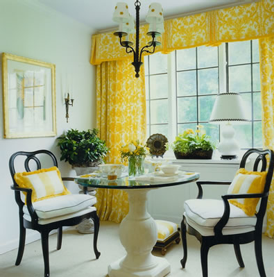home design: yellow dining room