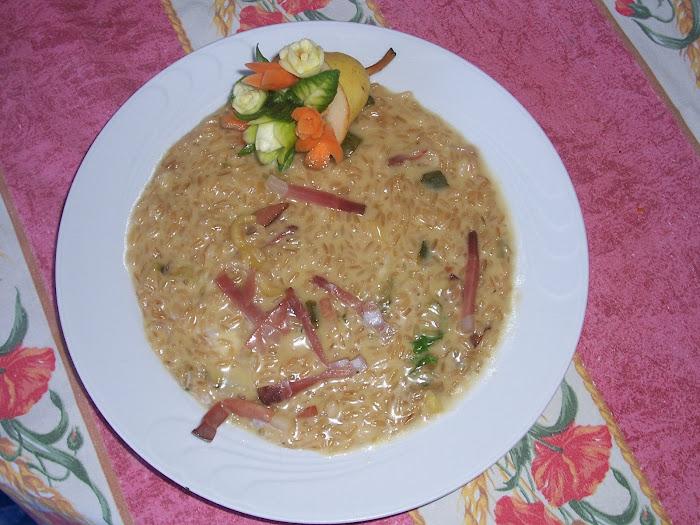 risotto grezzo con speck e gorgonzola