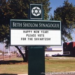 Obama Vote for the Shvartze Shvartza Schvartze Synagogue Church Sign
