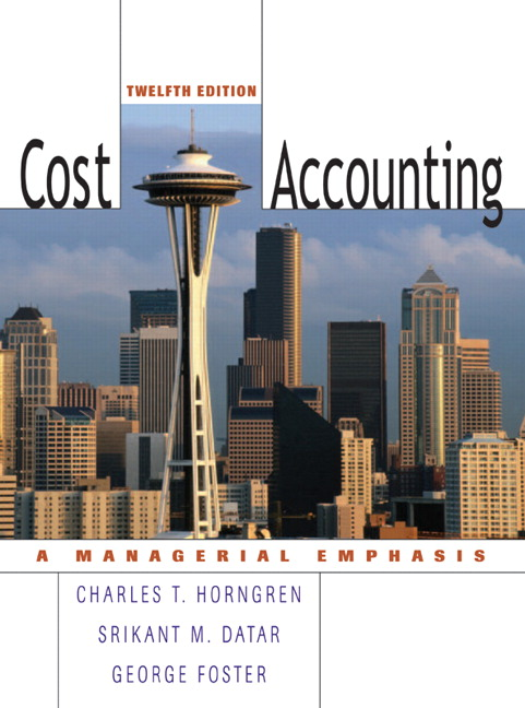 cost accounting a managerial emphasis horngren 13th edition solutions manual Description solutions manual by charles t horngren, srikant m datar, and george foster, madhav v rajan, and christopher ittner provides instructors with answers to all end-of-chapter material.
