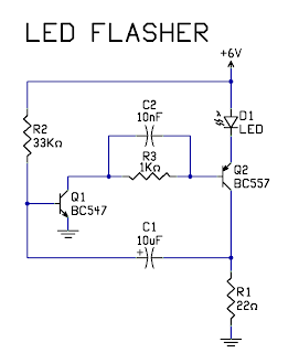 hobby electronics circuits very simple 2 transistor led flasher circuit rh hobbycircuits blogspot com LED Hobby Projects LED Hobby Projects