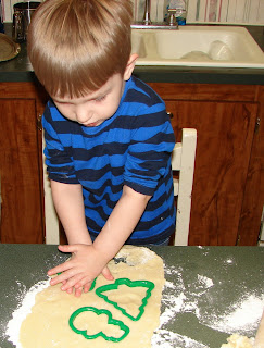 Fun using cookie cutters to cut out dough