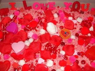 Valentine's Day sensory bin fun