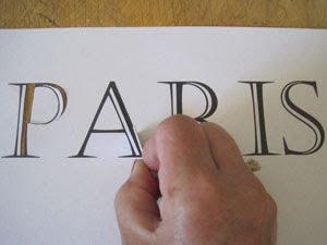 cutting Paris stencil
