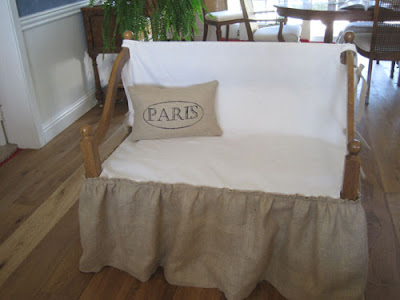 Burlap and muslin slipcover