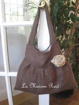 Burlap Purse with Shabby Rose, Purse Tutorial, Burlap Tote