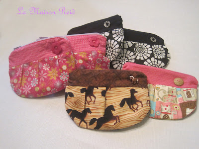 Pleated Pouch with horse fabric and Pony Button Embellishment