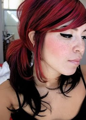 red and black emo hair