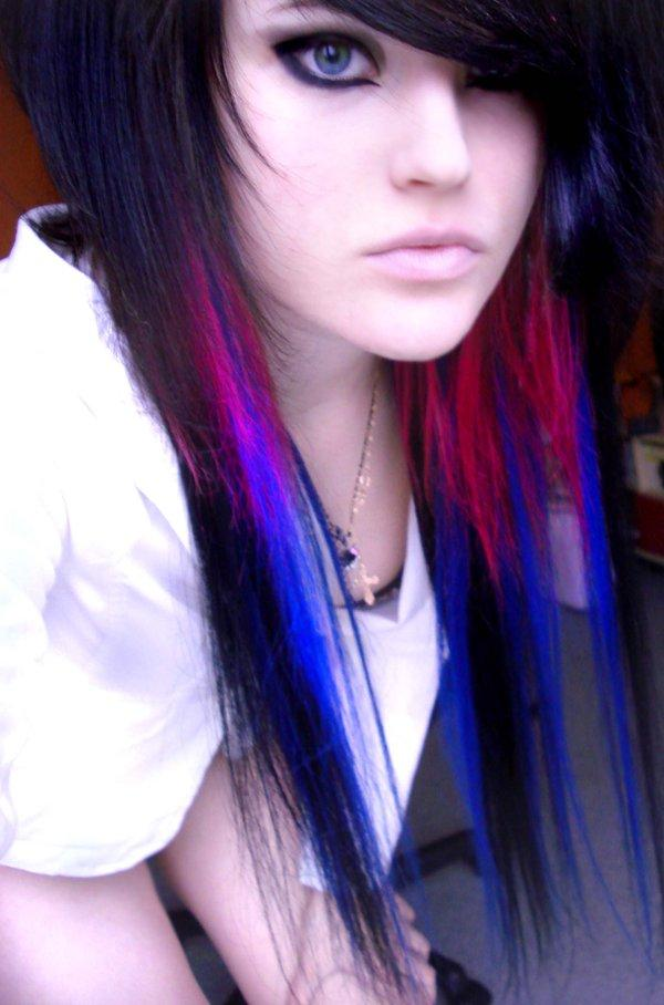 blue and black hair emo. Looks great mixed in with jet black hair. You can let the red and the blue