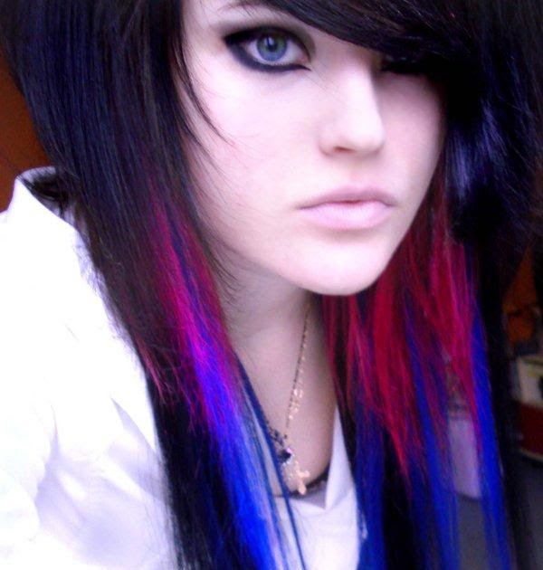 hair emo pink and blue scene