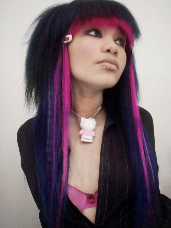black and purple scene hair. Blue pink and purple hair is a
