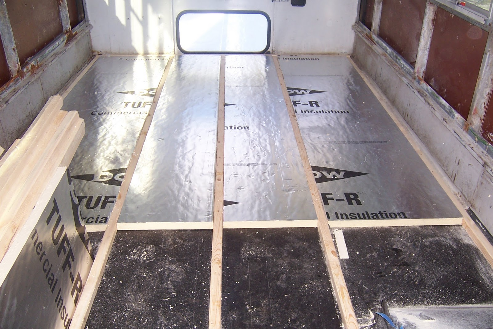 farm bus insulation and sub floor