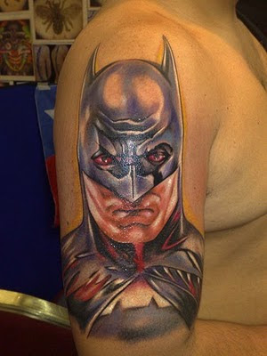 Head Batman Tattoo on Arm Man Head Batman Tattoo on Arm Man