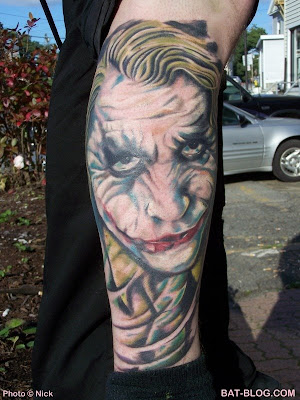 HEATH LEDGER AS THE JOKER TATTOO ART From The Dark Knight Batman Movie!