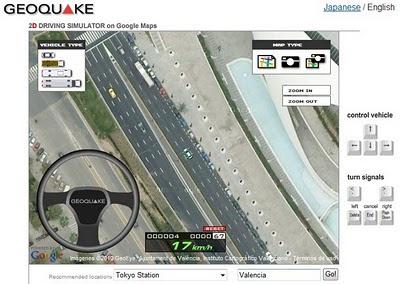 Geoquake - Simulador de conducción sobre Google Maps