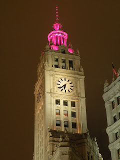 Tower on the Wrigley Building on a cloudy evening