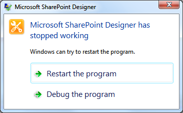 SharePoint crash