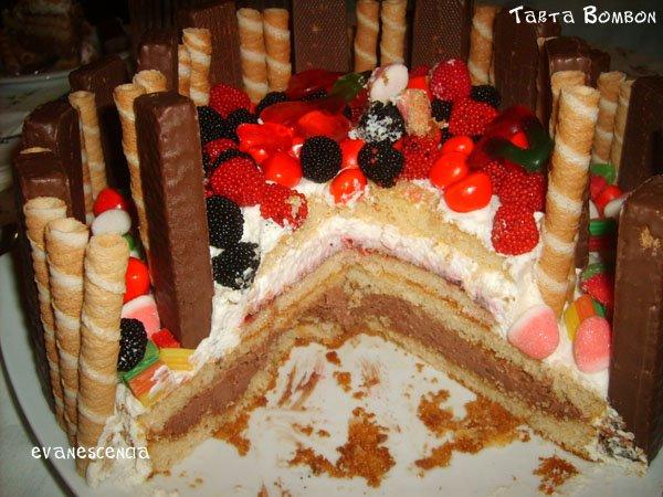 corte de la tarta bombon