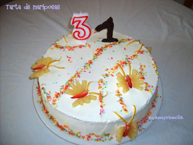 tarta mariposas con velas