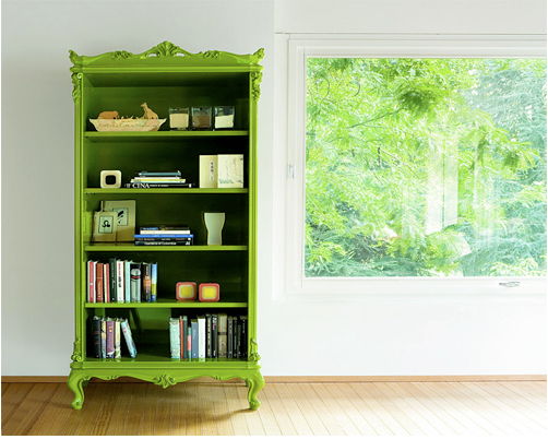 Colored Furniture Cool Of Green Painted Bookcase Pictures