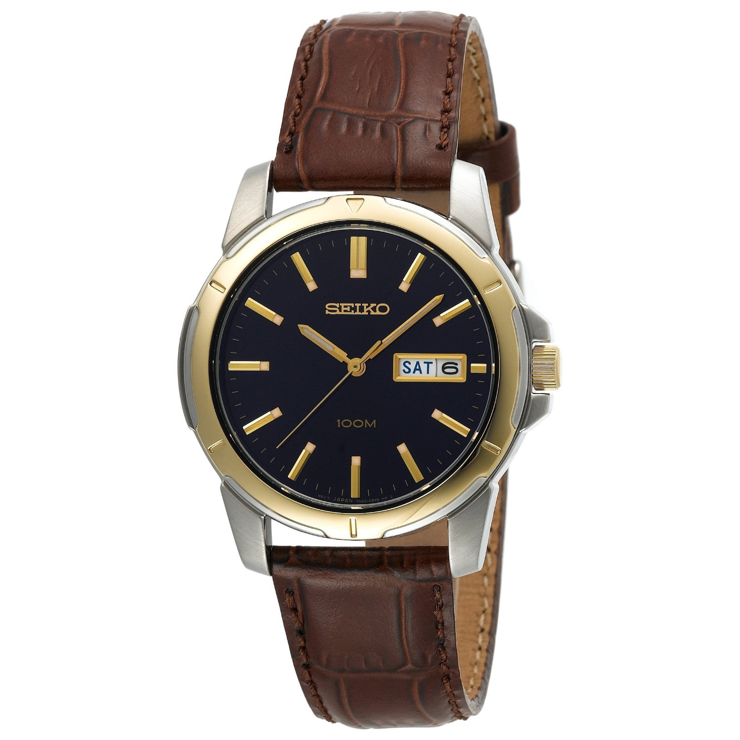 seiko s sgga08 brown leather seiko quartz