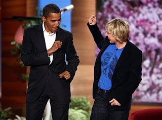 Ellen Degeneres and Barack Obama dancing