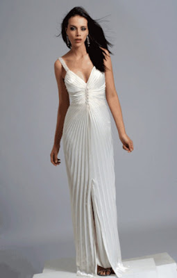 Long, ivory pleated prom dress at Promgirl.net