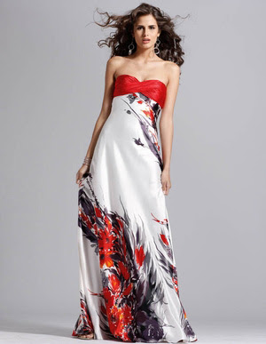 Black, red, and white printed prom dress available at Promgirl.net