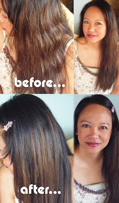 Before and After Shots of using the H2Pro flat iron