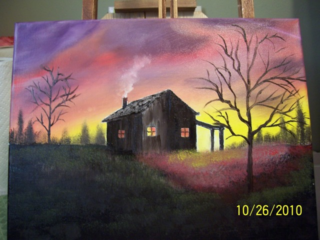 Sharing some paintings cabin dusk for Acrylic painting on black background