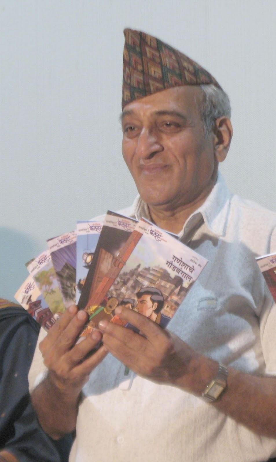 Dr Mohan Agashe releasing the Feluda stories in Marathi at the National Film ...