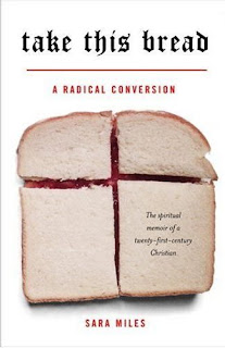 Take this bread book cover showing a peanut butter and jelly sandwich cut so that the red jelly showing through the cuts forms a cross