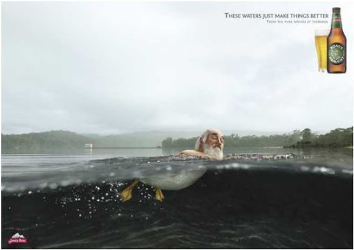 Beer advertising about surprising properties of water