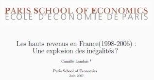 Ecole d'économie de Paris, Paris School of Economics,Les hauts revenus en France, par Camille Landais